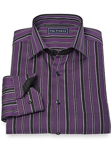 Paul Fredrick Men's 100% Cotton Stripe Cutaway Collar Sport Shirt Black/purple 17.5x34/35