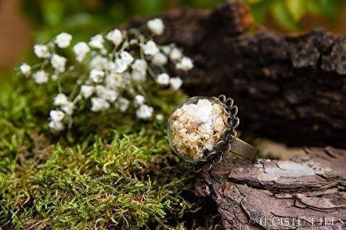 Anillo de gipsófila- Joya con flores secas naturales - Anillo ajustable flor de novia bohemio - Semiesfera de vidrio - 20mm - Regalos originales para mujer - Cumpleaños - Regalo de Navidad