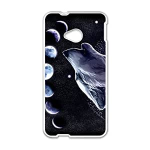 Custom Fantasy Wolf Howling Moon Protective Skin Case for HTC One M7