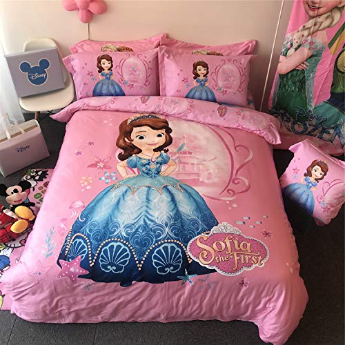 Cenarious Pink Princess Sofia Castle Disney Cartoon Style Duvet Cover Set Cotton Flat Sheet Bed Cover - 3Pcs Bedding Set - Twin Flat Sheet Set - 61