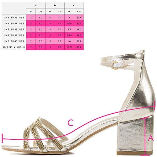 Diamante Heel Looking Gold Sandals Strap Ankle Metallic Spylovebuy Good Block Shoes Women's wHUngxqt5X