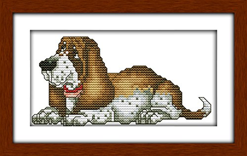 Cross Stitch Embroidery Starter Kit including 11ct classic reserve Aida colored threads and tools Basset Hound (No Frame)