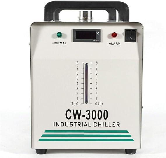 Enfriador de agua industrial,Enfriador de agua,9L CW-3000 Enfriador de agua industrial 10L//min Enfriamiento de tubo de manguera de Co2,M/áquina de grabado Grabadora de CO2 M/áquina de corte M/áquina