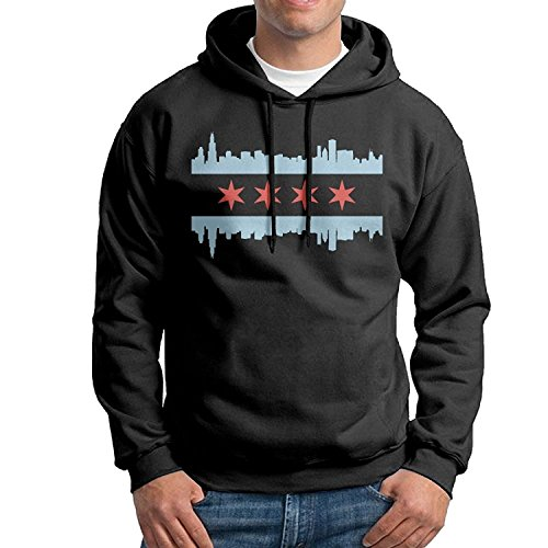 Chicago Flag Skyline Mens Fashion Hooded Sweater Without Pocket Casual Hoodie Black For (Ucla College Leather)