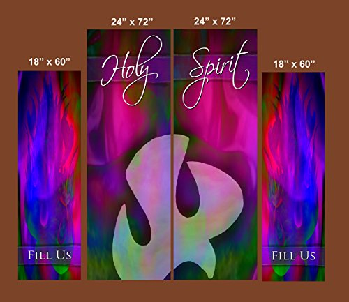DailyIspirations4U Holy Spirit/Fill US (4) Church Banners for Indoor or Outdoor Use