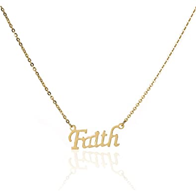 Image Unavailable. Image not available for. Color  Edforce Stainless Steel  Women s Gold Faith Pendant Necklace 20 Inch ... 44d428b295