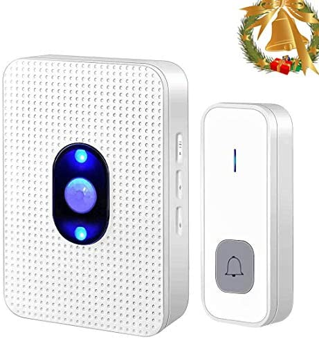 Wireless Door ChimesZqas Portable Smart Home Doorbell Kit Operating at 985ft 55 Rings Old People Beeper1 transmitter and 1 receiver