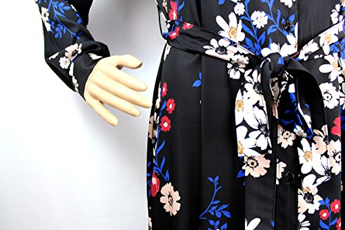 bottoni – e con Prani 1008018 lungo Abito VIE Art stampa floreale cinturino SFnCqwfxC
