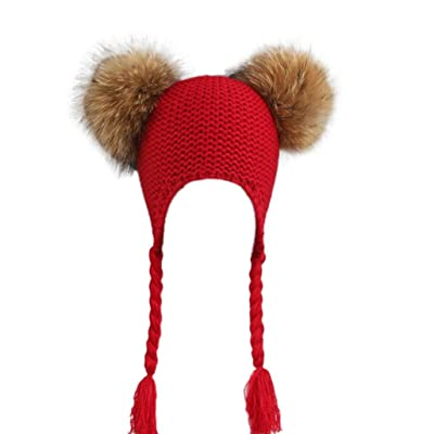 Amiley Baby Children Ball Cap Warm Winter Hats 2 Pom Pom Knitted Wool Christmas gift