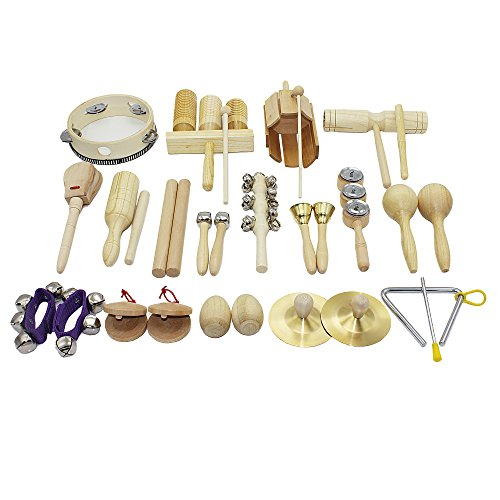 Musical Instruments for Toddlers, Early Childhood, iPlay, iLearn 28 PC Percussion Set, Cymbals, Triangle with striker, Rhythm Sticks, Tambourine, Maracas, Castanets, Bell Shakers, Clacker