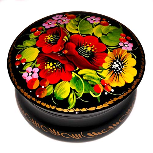 Hand Painted Wood Jewelry - UA Creations Small Round Jewelry Box with Lid for Rings Necklace and Earrings Hand Painted Floral Lacquer Trinket Box