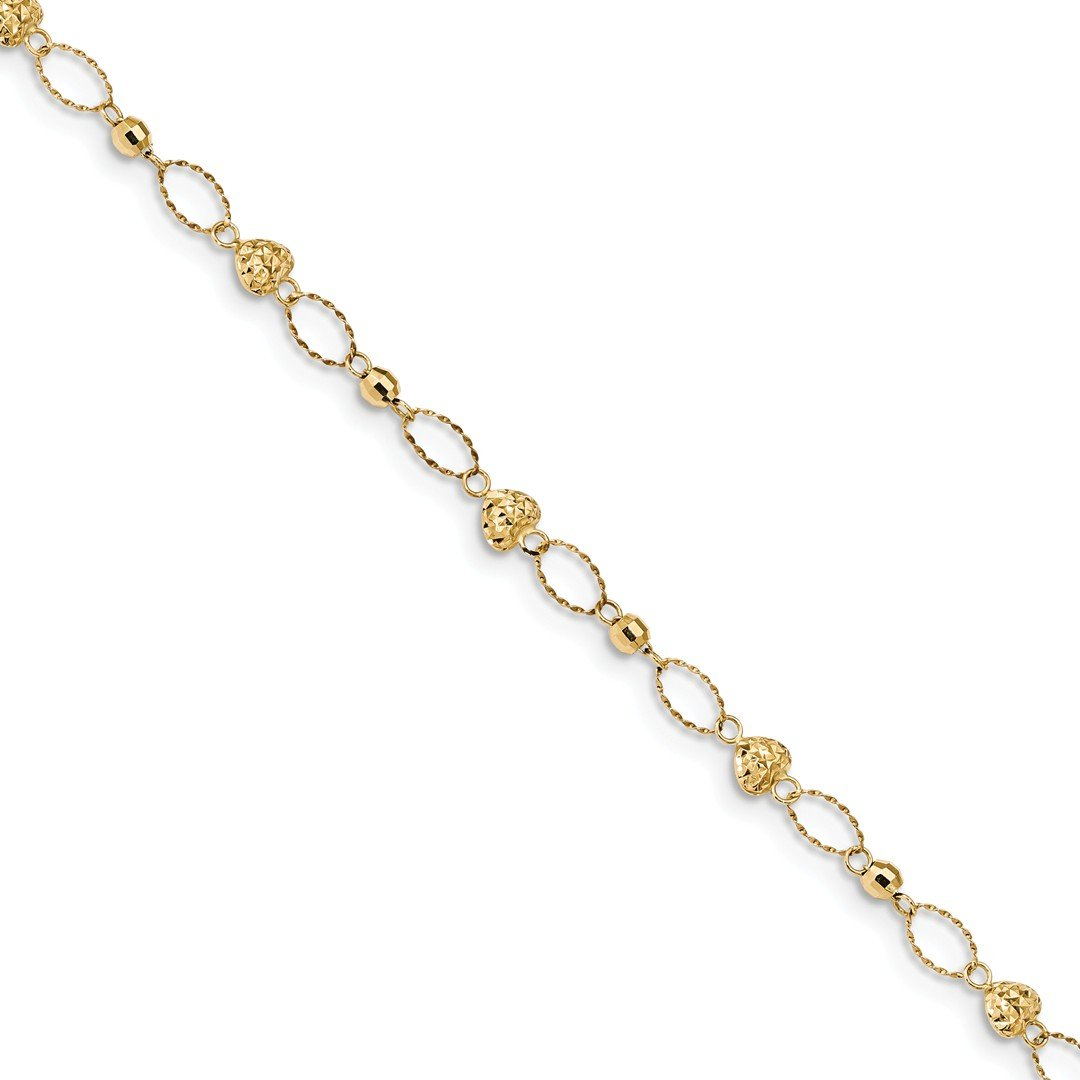 ICE CARATS 14k Yellow Gold Oval Links Mirror Beads Hearts Bracelet 7.5 Inch Fancy /love Bead Beadsed Fine Jewelry Gift Set For Women Heart