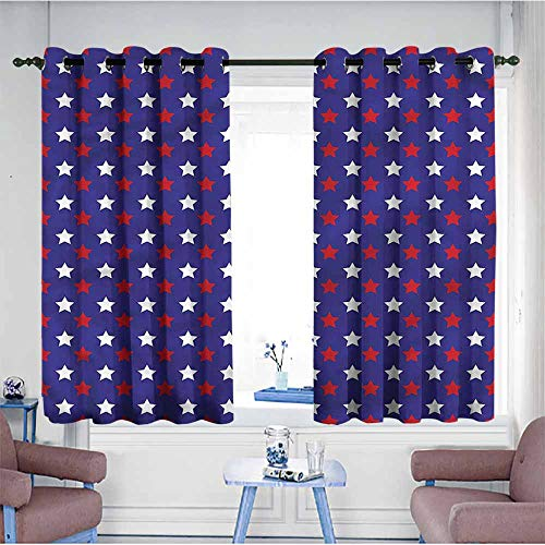 Mdxizc Bedroom Windproof Curtain USA Federal Holiday Design Printing Insulation W55 xL63 Suitable for Bedroom,Living,Room,Study, etc. (Federal Curtains Style)