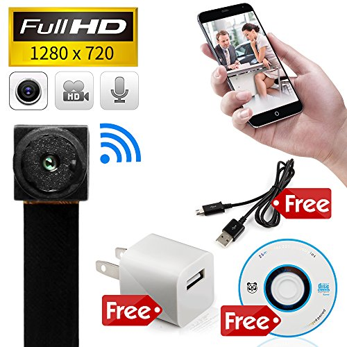 MINICUTE Mini Hidden spy camera HD 1080P P2P Wireless WiFi IP Digital Video recorder for IOS Android Phone APP Motion Detecting Free Charger and Disc and Updated Instruction Included. (Mini Cameras Spy)