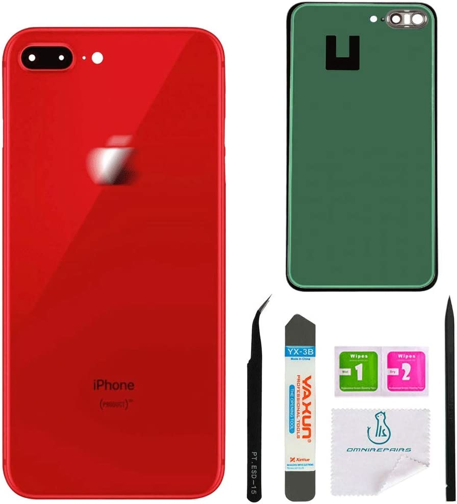 A1864, A1897, A1898 Red with Adhesive and Repair Toolkit OmniRepairs Rear Back Battery Door Cover Replacement with Camera Glass Lens Compatible for iPhone 8 Plus Model