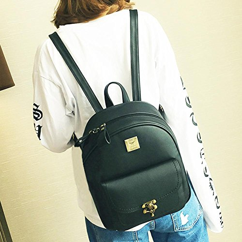 Small Backpack Bag Leather Women Domybest PU Handbags Shoulder Green School Vintage Casual Bookbag gtqEHtxwFZ