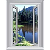 JP London AMD7A011 4-Feet by 3-Feet Removable Cottage Large Window Wall Mural