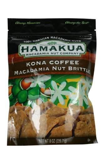 Kona Coffee Macadamia Nut Brittle 8 Oz Bag - Made in Hawaii