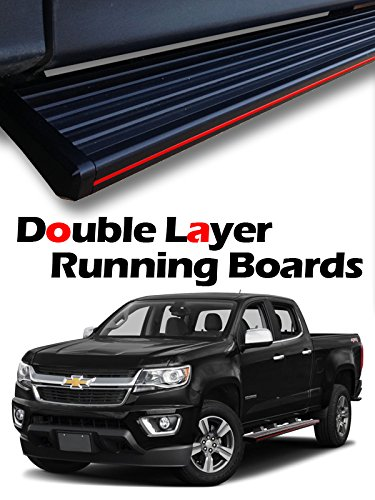 """MPH Auto 5.5"""" Matte-Black Stylish Running Boards Custom Fit 2015 2016 2017 2018 Chevy Colorado/GMC Canyon Extended Cab Side Step Rail Nerf Bar (2pcs; with Mounting Bracket Kit) mj-030-r ()"""