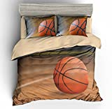 helengili Basketball Balls in Bucket Basketball Background 4D Bedding Set Bedclothes Duvet Cover Set Bedlinen Popular Bedding Full