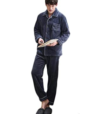 FGSJEJ Pijamas de hombres, trajes de servicio a domicilio para hombres (Color : Azul