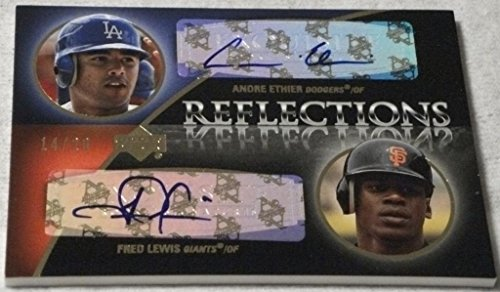 (2007 Exquisite Collection Rookie Signatures Reflections Autographs Gold #EL Andre Ethier/Fred Lewis 14/20)