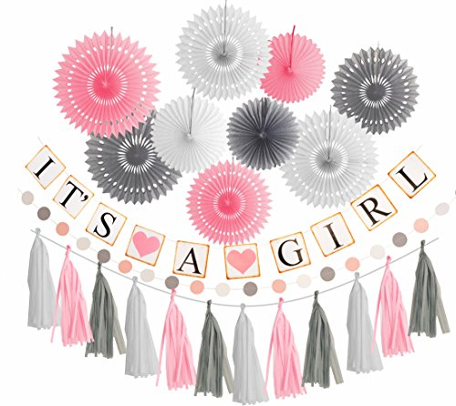Pink White Grey Baby Girl Baby Shower Decorations Grey Elephant Baby Shower Pink Grey White Baby Shower Decorations For Girl - Its A Girl Party Decor Pink Grey and White Baby Shower Decorations ()