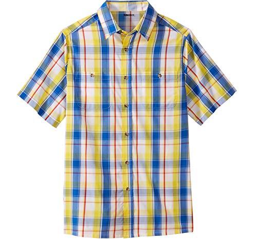KingSize Men's Big & Tall Short-Sleeve Plaid Sport Shirt, Cyber Yellow - Two Plaid Pocket