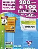 ClaireFontaine - Réf 17551C - Un Étui Carton de 200 Pages + 100 Pages Gratuites Feuillet Mobile Perforés Grand Carreaux A4 90 g vendu à l'Unité