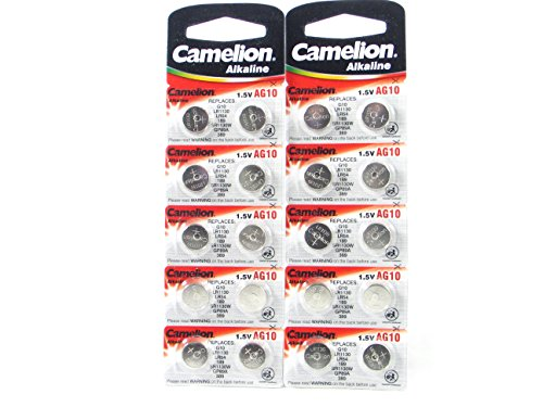 20 CAMELION AG10 / 189 / 389 / LR1130 Button Cell Watch Battery With Long Shelf Life (Expire Date Marked) (389 Battery compare prices)