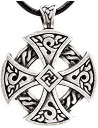 Pewter Solar Cross Celtic Irish Druid Pendant on Leather Necklace