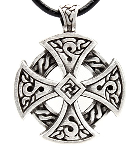 Pewter Solar Cross Celtic Irish Druid Pendant on Leather (Cross Pewter Pendant Leather Necklace)