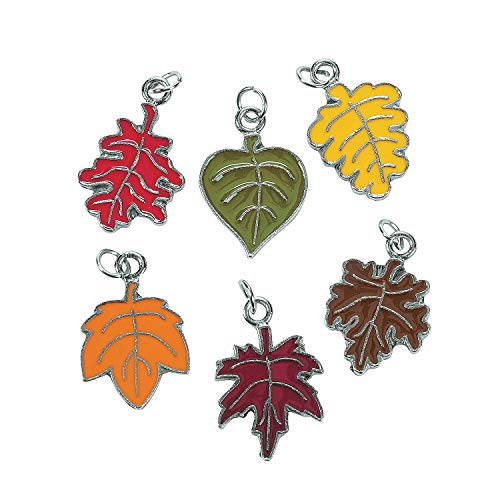 Fun Express - Leaf Enamel Charms for Fall - Craft Supplies - Kids Beading - Charms - Fall - 36 Pieces