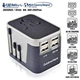 Travel Plug Adapter - 4 USB Charging Ports Wall Charger (Sand Black Grey)- for Type I, Type C, Type G, Type A EU US UK Power Adapter Plug - European Adapter Plugs - World Cruise Travel Plug Adaptor