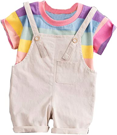 Toddler Baby Boy Kids Rainbow Stripe Tops T-shirt Straps Short Cute Outfits Set
