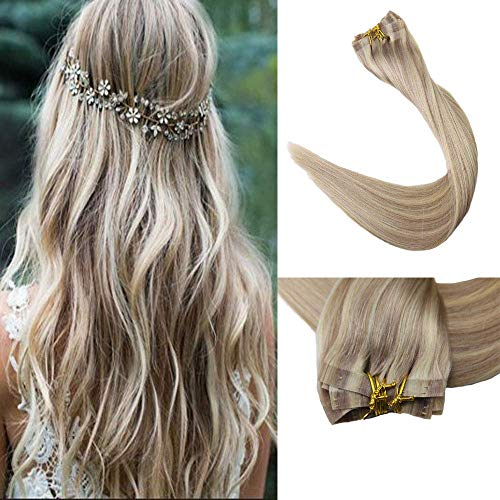 Full Shine 8 Pieces 18 Inch 120 Gram Color 18 Ash Blonde Highlighted With 613 Blonde Seamless Clip In Real Human Hair Extensions Full Head Clip In Tape Remy Human Hair Skin Weft Clip in Extensions (The Best Clip In Hair Extensions 2019)