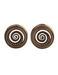Swanjo Antiqued Brass Beads Sprial Double Flared Hollow Ear Tunnel Plugs 0G-7/8""