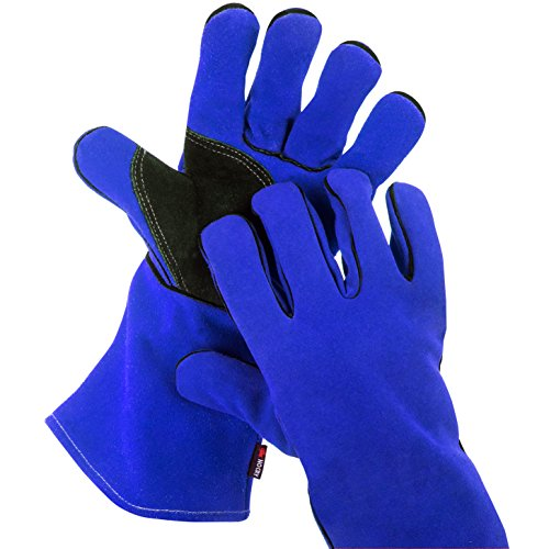NoCry Heat Resistant and Flame Retardant Welding, BBQ, and Hearth Gloves, Premium Cowhide Leather, 14 inch, Blue