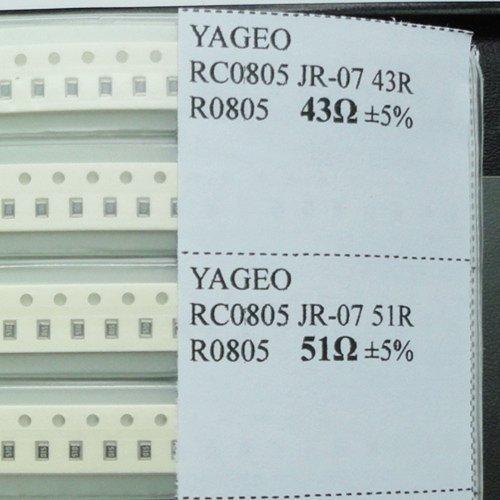 Yobett 0805 (15pF-1uF)&(0 ohm-2M ohm) 5% 80 Value 3725pcs SMD Resistor and Capacitor Combo Kit