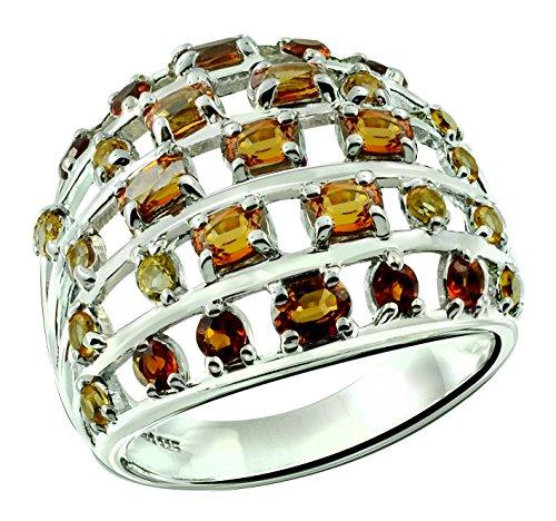 RB Gems Sterling Silver 925 Ring Genuine Gemstone Oval 4x3 mm Cluster Style, Rhodium-Plated Finish (8, Spessartite-Garnet) (Cluster Garnet Genuine)