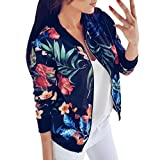 HTHJSCO Women's Stand Collar Zip Up Floral Prints Bomber Jacket (Blue, XL)