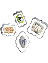 Efivs Arts Stainless Steel Plaque Frame Pastry Biscuit Cookie Cutter Mold Fondant Pancake Cutter, Pack of 4