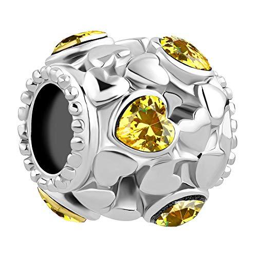 LovelyJewelry Heart Hollow Bead Charm for Charm Bracelets (November)