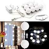 Hollywood Mirror Light Kit with Dimmable Light Bulbs for Makeup Dressing Table DIY LED Vanity Lighting Strip with Quality Adhesive 10 Lights (Mirror Not Included)