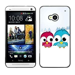 TopCaseStore / la caja del caucho duro de la cubierta de protección de la piel - Blue Red Bird Art Snow Couple Love Romantic - HTC One M7