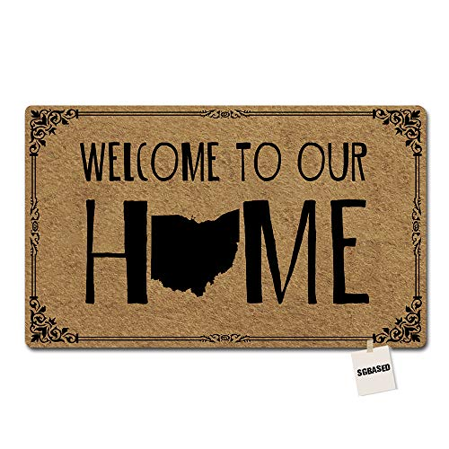 SGBASED Doormat Welcome to Our Home Door Mat Ohio State Welcome Mat Entrance Floor Mat Rubber Non Slip Backing Entry Way Doormat Non-Woven Fabric (23.6 X 15.7 Inches) ()