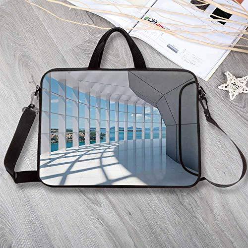 "White Decor Custom Neoprene Laptop Bag,Office Building Skyscrapers with Ocean Seascape Islands Photo Laptop Bag for Men Women Students,17.3""L x 13""W x 0.8""H"