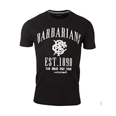a4e758d65a2 Kooga Barbarians Spirit Rugby tee Shirt  Black   Amazon.co.uk  Clothing