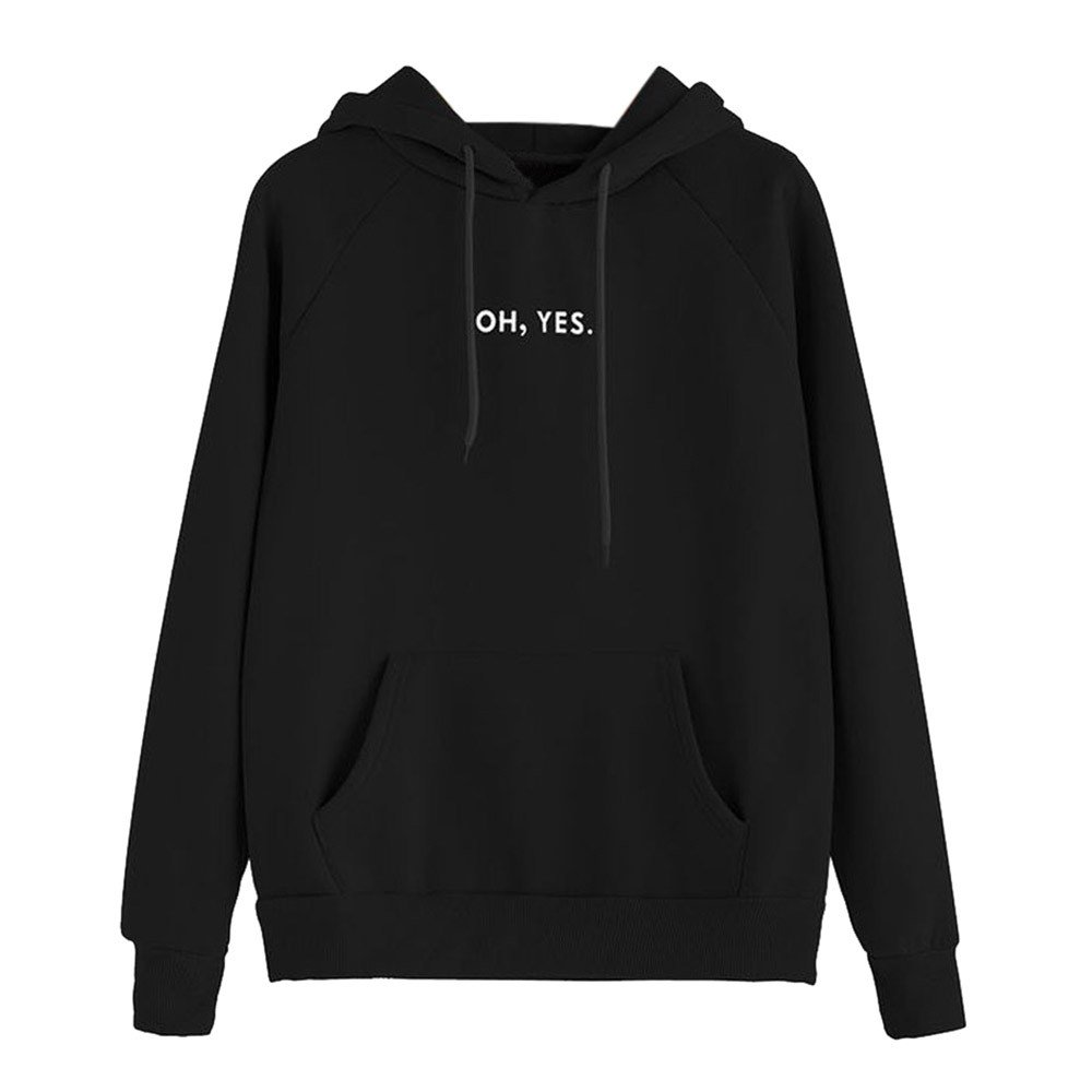 Challyhope Women ''OH, YES.'' Letter Print Solid Hoodie Sweatshirt Hooded Pullover Top (M, Black)
