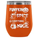Stainless Steel Tumbler Cup with Lids for Wine, Pumpkin Spice Wine Tumbler, Halloween Day Vacuum Insulated Wine Tumbler (Wine Tumbler 12Oz - Orange)